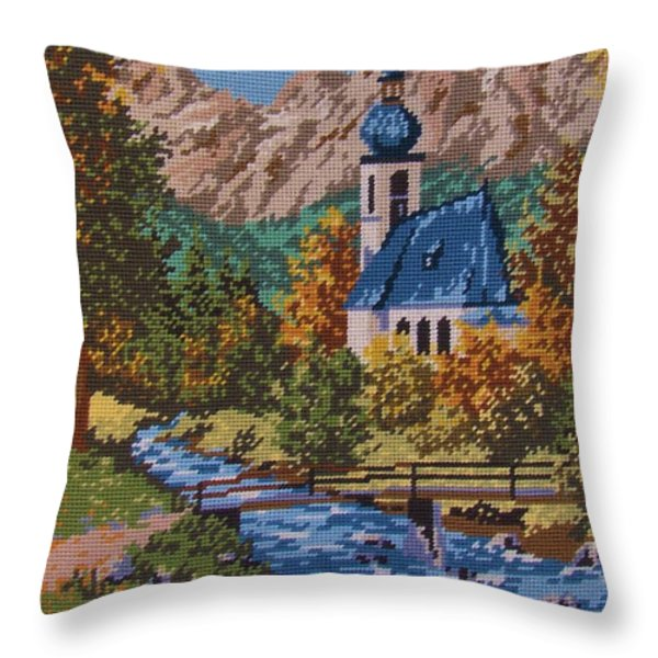 Bavarian Country Throw Pillow by M and L Creations Art Craft Boutique