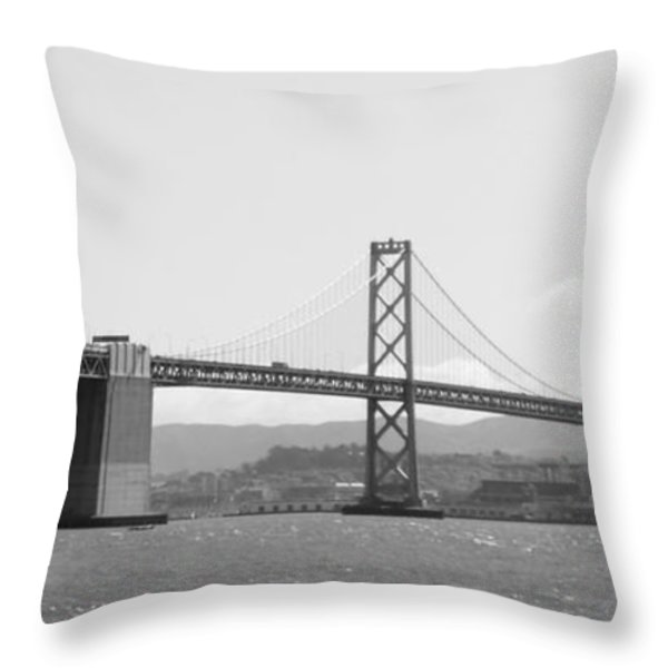 Bay Bridge in Black and White Throw Pillow by Carol Groenen