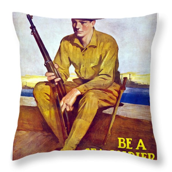 Be A Sea Soldier  Throw Pillow by War Is Hell Store