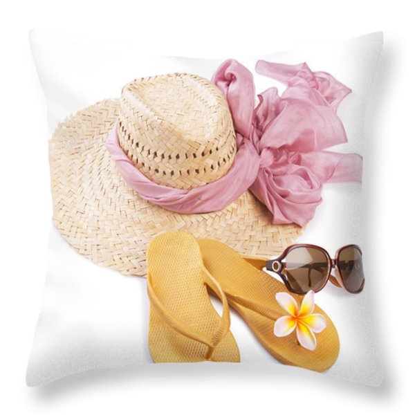 Beach Accessories Throw Pillow by Atiketta Sangasaeng