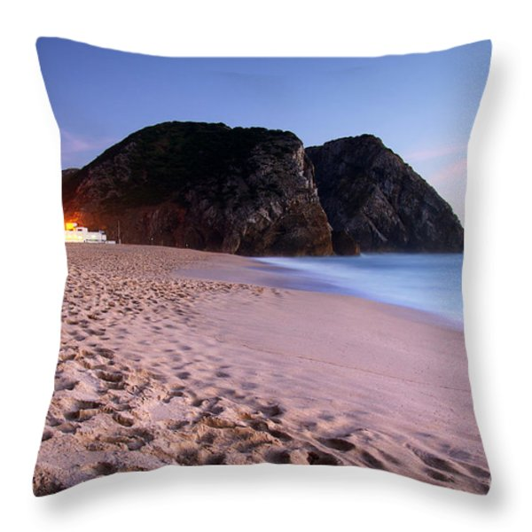 Beach At Evening Throw Pillow by Carlos Caetano