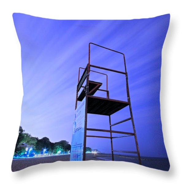 Beach At Night Throw Pillow by Charline Xia