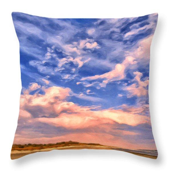 Beach At Sullivan's Island Throw Pillow by Dominic Piperata