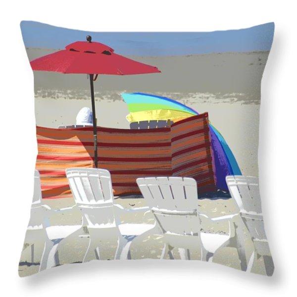 Beach Chairs Throw Pillow by Lori Seaman