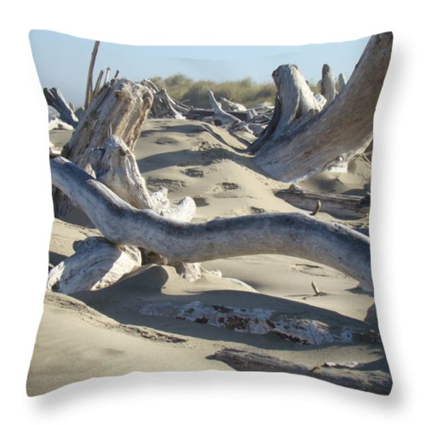 Beach Driftwood art prints Coastal Sand Dunes Shore Throw Pillow by Baslee Troutman