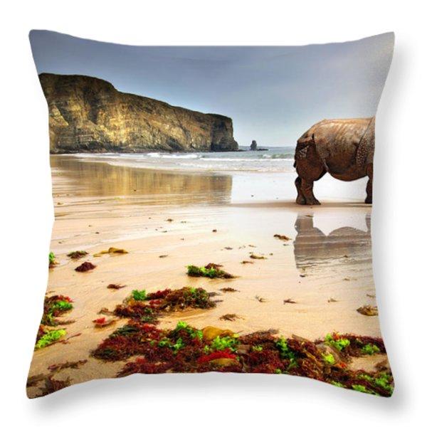 Beach Rhino Throw Pillow by Carlos Caetano