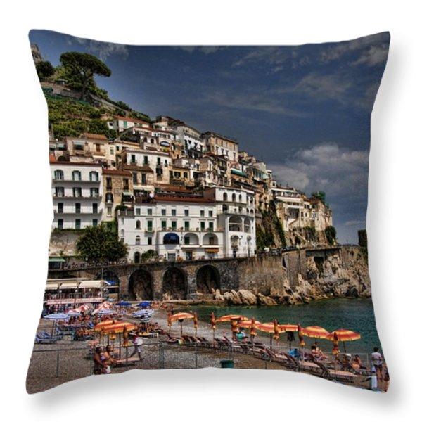 Beach scene in Amalfi on the Amalfi Coast in Italy Throw Pillow by David Smith