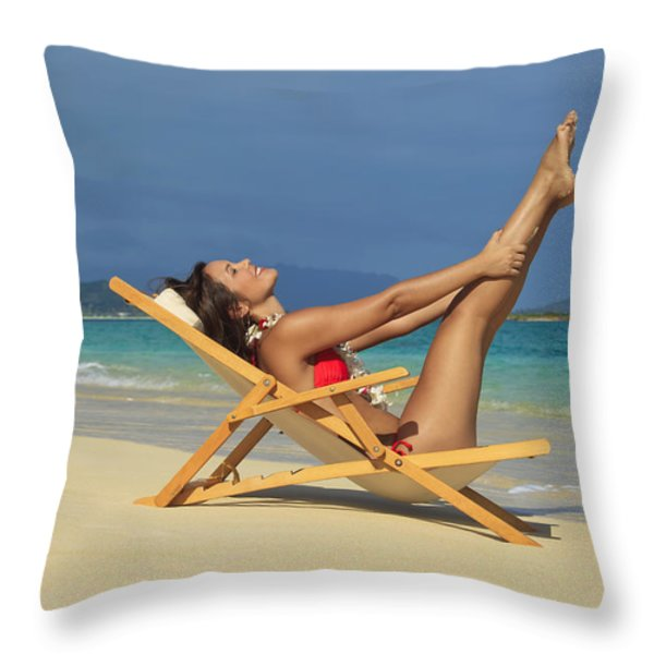 Beach Stretches Throw Pillow by Tomas del Amo