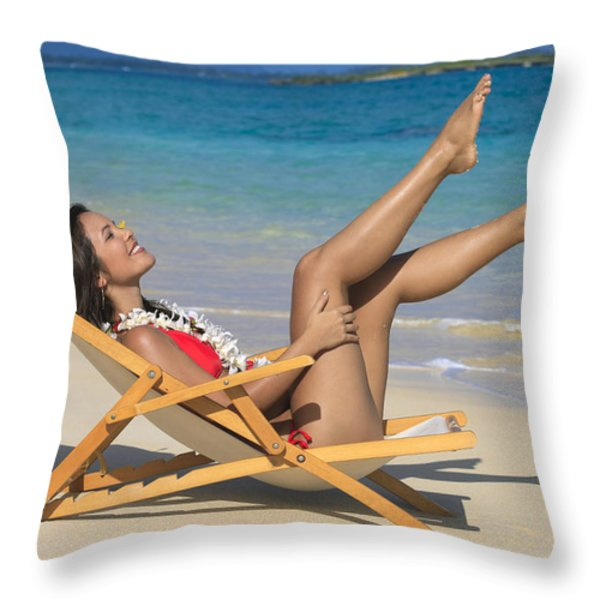 Beach Stretching II Throw Pillow by Tomas del Amo