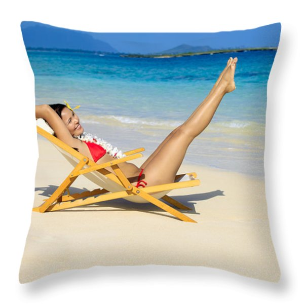 Beach Stretching Throw Pillow by Tomas del Amo