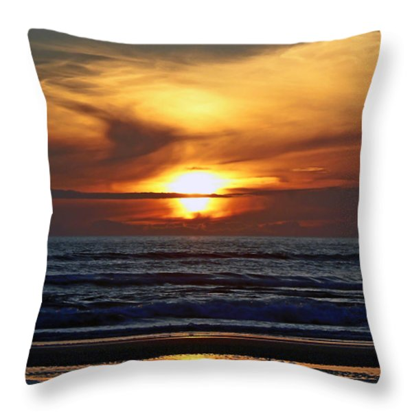 Beach Sunset  Throw Pillow by Pamela Patch