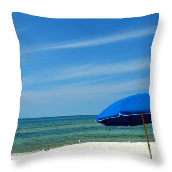 Beach Umbrella Throw Pillow by Susanne Van Hulst