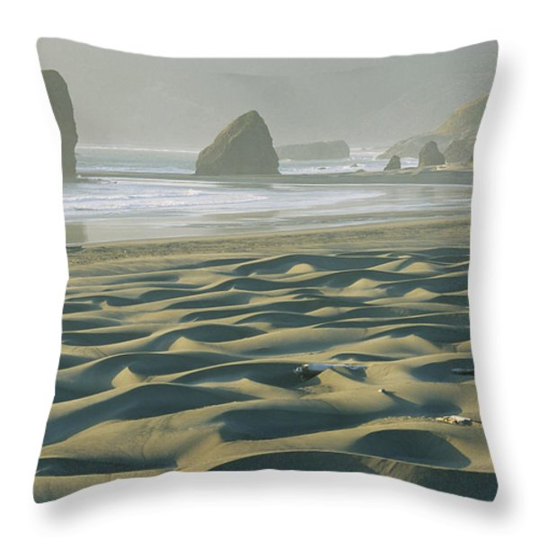 Beach With Dunes And Seastack Rocks Throw Pillow by Skip Brown