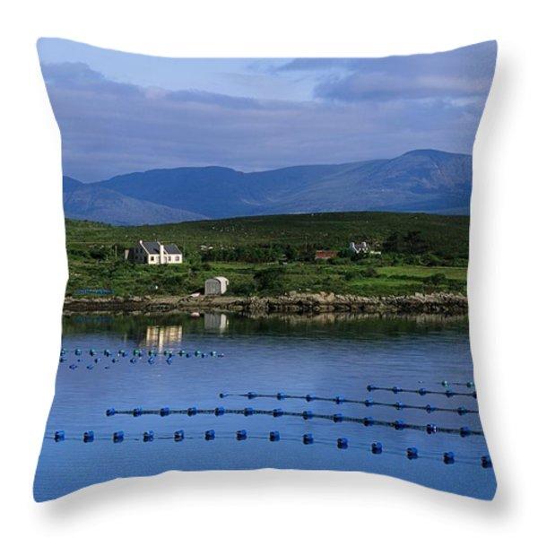 Beara, Co Cork, Ireland Mussel Farm Throw Pillow by The Irish Image Collection