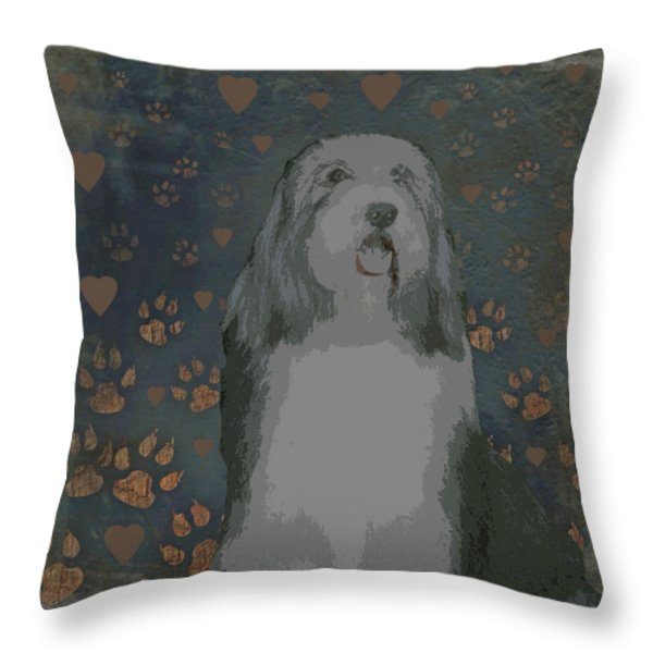 Bearded Collie Throw Pillow by One Rude Dawg Orcutt