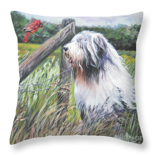 Bearded Collie with Cardinal Throw Pillow by L AShepard