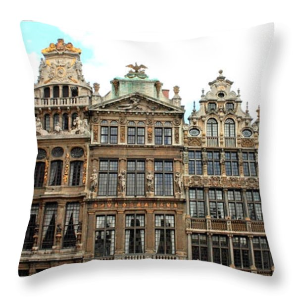 Beautiful Belgian Buildings - Digital Art Throw Pillow by Carol Groenen