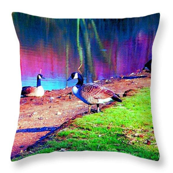Beautiful Canadian Geese  Throw Pillow by Annie Zeno