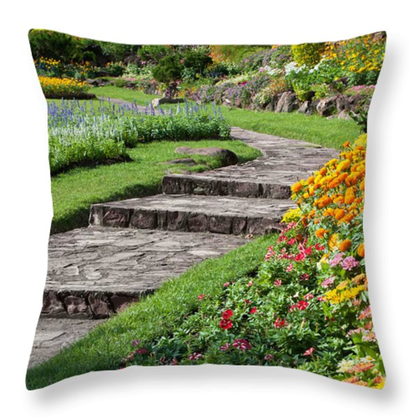 Beautiful Flowers In Park Throw Pillow by Atiketta Sangasaeng