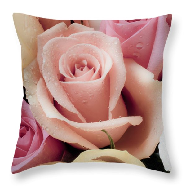 Beautiful Roses Throw Pillow by Garry Gay
