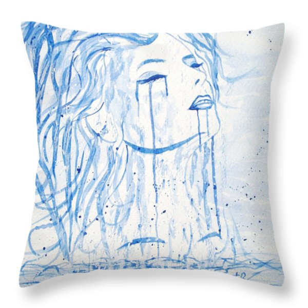 Beautiful Sea Woman watercolor painting Throw Pillow by Georgeta  Blanaru