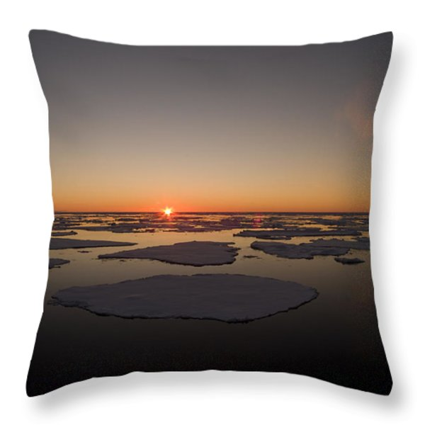 Beautiful Sunset Over An Arctic Ice Throw Pillow by Norbert Rosing