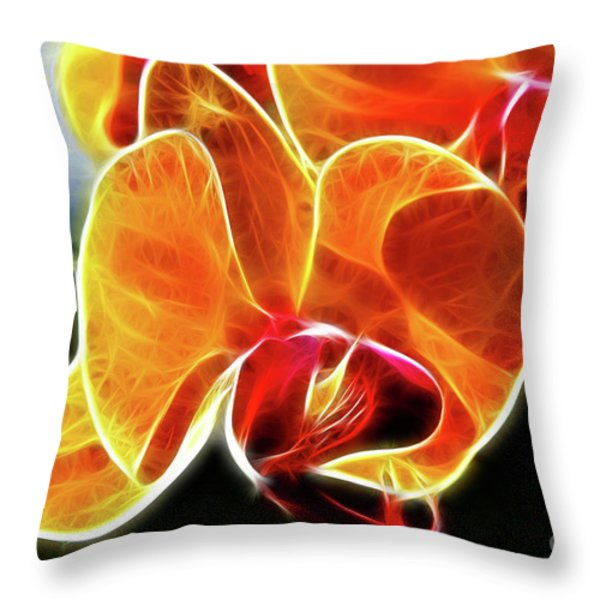 Beautiful Yellow Orchid Throw Pillow by Mariola Bitner