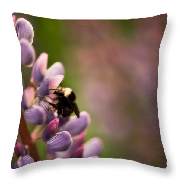Bee and Lupine Throw Pillow by Venetta Archer