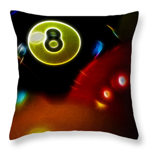 Behind The Eight Ball - Vertical Cut - Electric Art Throw Pillow by Wingsdomain Art and Photography