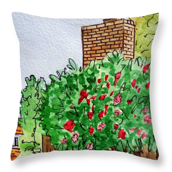 Behind The Fence Sketchbook Project Down My Street Throw Pillow by Irina Sztukowski
