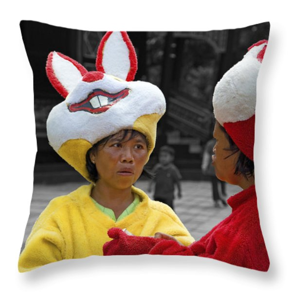 Behind The Mask Throw Pillow by Charuhas Images