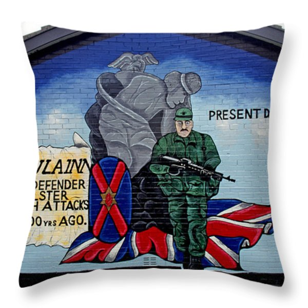 Belfast Mural Throw Pillow by Thomas R Fletcher