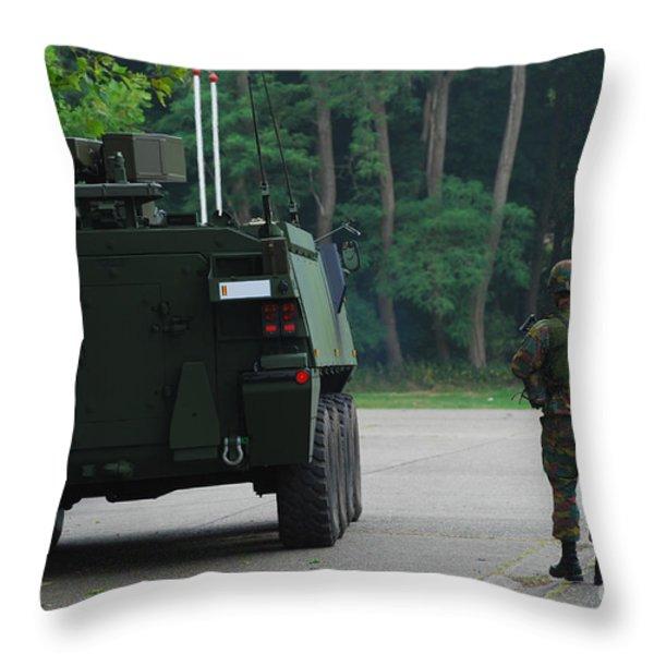 Belgian Infantry Soldiers Walk Throw Pillow by Luc De Jaeger