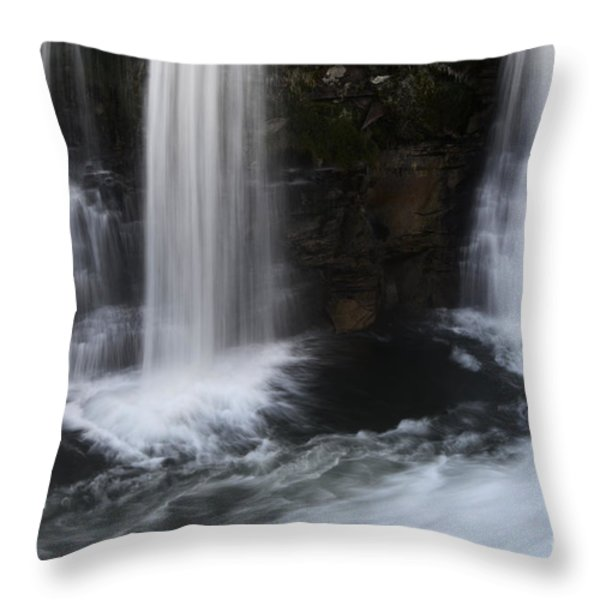 Below The Falls Throw Pillow by Bob Christopher