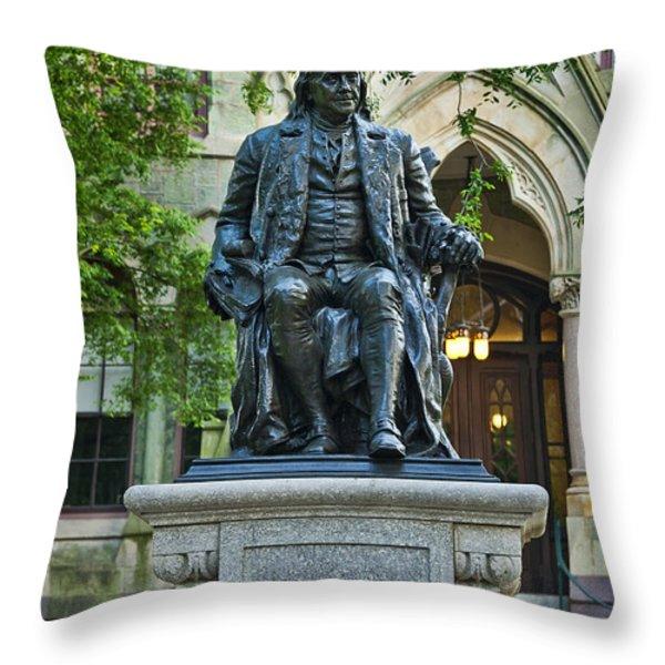 Ben Franklin at the University of Pennsylvania Throw Pillow by John Greim