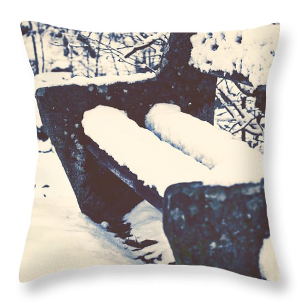 Bench With Snow Throw Pillow by Joana Kruse