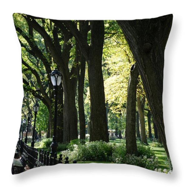 BENCHES TREES and LAMPS Throw Pillow by ROB HANS