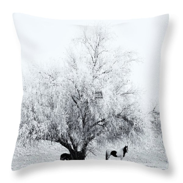 Beneath a Frosty Canopy Throw Pillow by Mike  Dawson