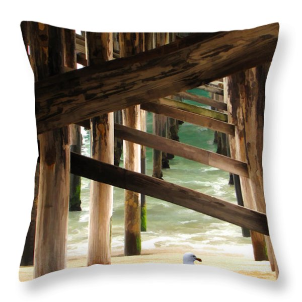 Beneath The Pier Throw Pillow by Diane Wood