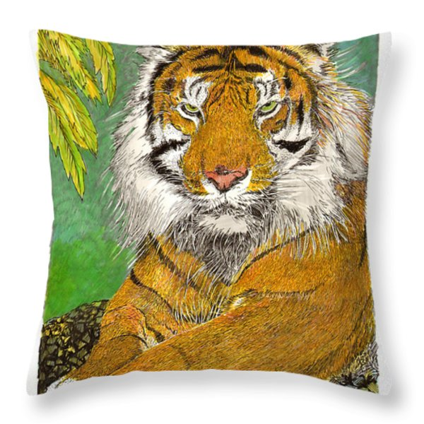 Bengal Tiger with green eyes Throw Pillow by Jack Pumphrey
