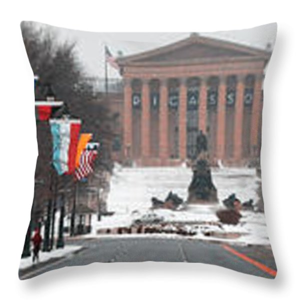 Benjamin Franklin Parkway Panorama Throw Pillow by Bill Cannon