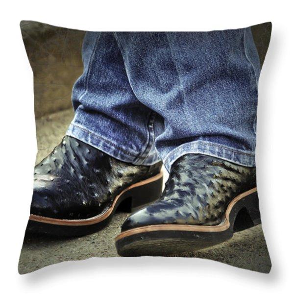 Bennys Boots Throw Pillow by Joan Carroll