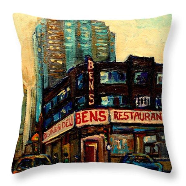 BENS RESTAURANT DELI Throw Pillow by CAROLE SPANDAU