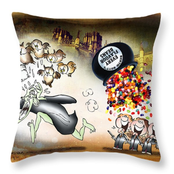 Bertie Bott's Beans Throw Pillow by Mark Armstrong