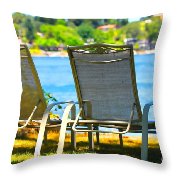 Best Seats on the Island 2 Throw Pillow by Cheryl Young