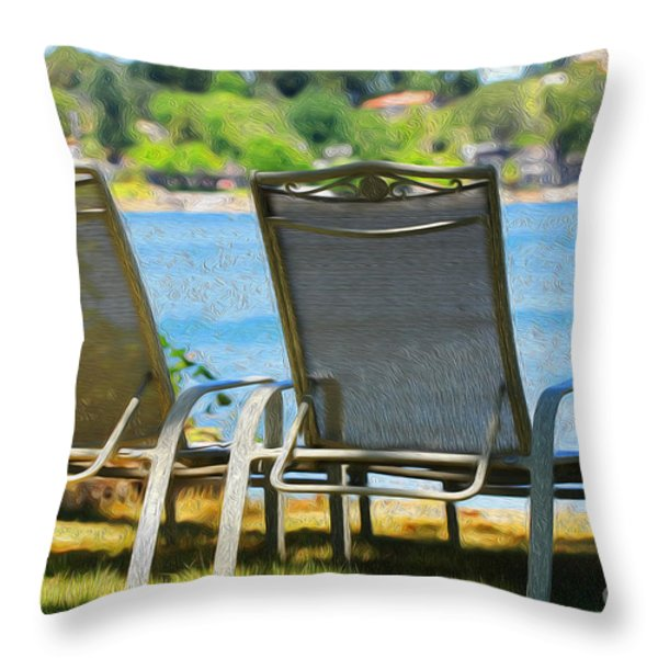 Best seats on the Island Throw Pillow by Cheryl Young
