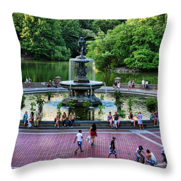 Bethesda Fountain overlooking Central Park Pond Throw Pillow by Paul Ward