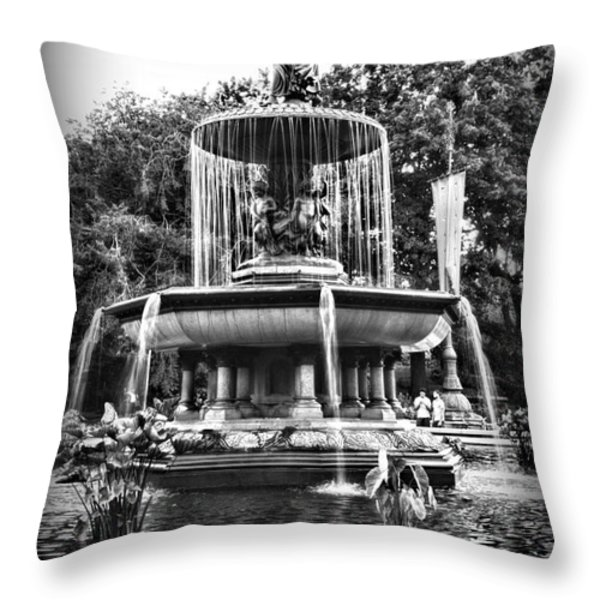 Bethesda Fountain Throw Pillow by Paul Ward
