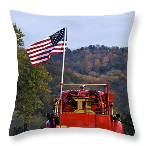 Bethlehem Fire Truck - D008199 Throw Pillow by Daniel Dempster