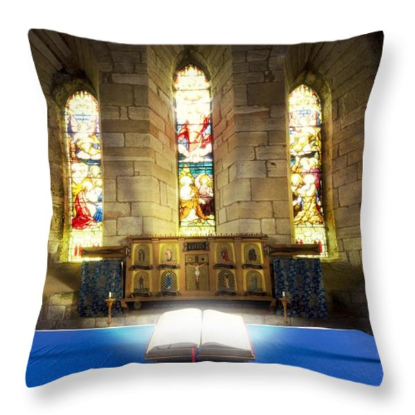 Bible In Church Throw Pillow by John Short